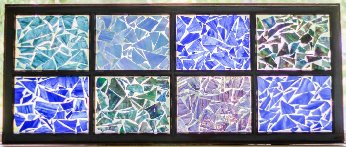 """Shades of Blue"" 8-Pane Broken Stained Glass Window Mosiac; Link to Store: http://mhcxd.eqyhy.servertrust.com/product-p/blue-8-panel.htm"