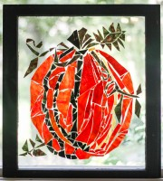 """Pumpkin"" Broken Stained Glass Window Mosiac; LInk to Store: http://mhcxd.eqyhy.servertrust.com/product-p/pumpkin.htm"