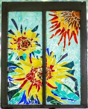 """Sunflowers & Sun"" Broken Stained Glass Window Mosiac; Link to Store: http://mhcxd.eqyhy.servertrust.com/product-p/sunflowers.htm"
