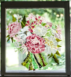 """Pink Bouquet"" Broken Stained Glass Window Mosiac; Link to Store: http://mhcxd.eqyhy.servertrust.com/product-p/pink-bouquet.htm"