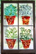 """4 Flower Pots: Parsley, Sage, Rosemary & Thyme"" Broken Stained Glass Window Mosiac; Link to Store: http://mhcxd.eqyhy.servertrust.com/product-p/4-flower-pots.htm"